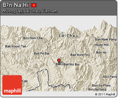 Shaded Relief Panoramic Map of Bản Na Hi