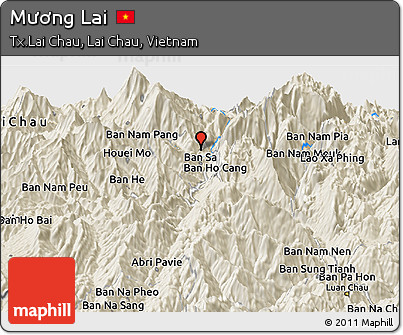 Shaded Relief Panoramic Map of Mương Lai