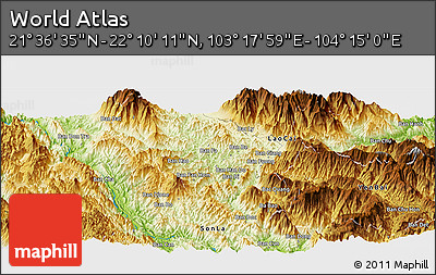 """Physical Panoramic Map of the Area around 21°53'23""""N,103°46'30""""E"""