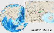 """Shaded Relief Location Map of the area around 21°53'23""""N,104°37'30""""E"""