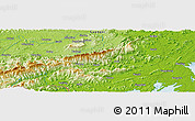 """Physical Panoramic Map of the area around 21°53'23""""N,108°1'30""""E"""