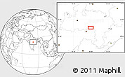 """Blank Location Map of the area around 21°53'23""""N,79°58'29""""E"""