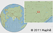 """Savanna Style Location Map of the area around 21°53'23""""N,79°58'29""""E, hill shading"""