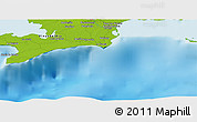 """Physical Panoramic Map of the area around 21°53'23""""N,84°4'29""""W"""