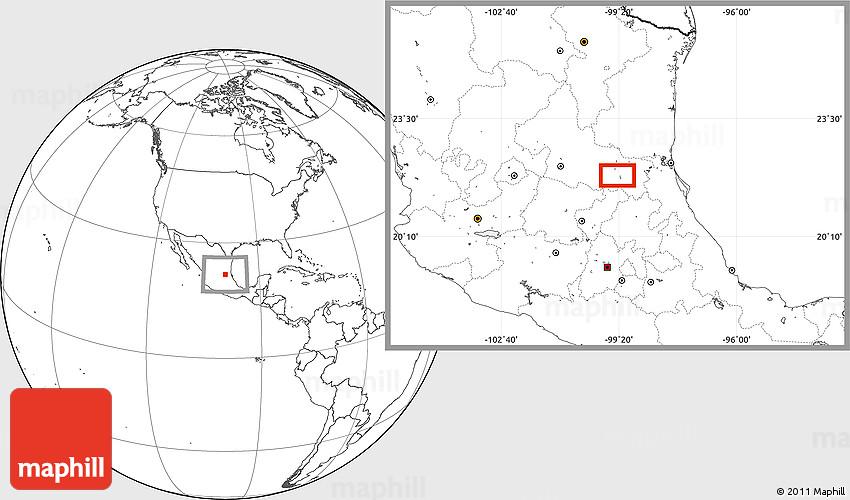 Blank Location Map of Ciudad Valles