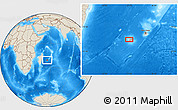 """Shaded Relief Location Map of the area around 21°3'11""""S,55°19'30""""E"""