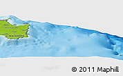 """Physical Panoramic Map of the area around 21°33'19""""S,168°22'30""""E"""