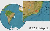 "Satellite Location Map of the area around 21°33'19""S,42°25'29""W"