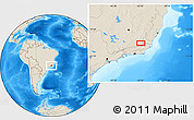 """Shaded Relief Location Map of the area around 21°33'19""""S,42°25'29""""W"""