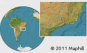 "Satellite Location Map of the area around 21°33'19""S,44°58'30""W"