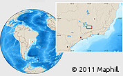 """Shaded Relief Location Map of the area around 21°33'19""""S,44°58'30""""W"""
