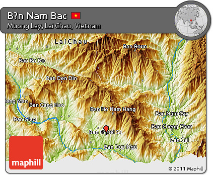 Physical 3D Map of Bản Nam Bac