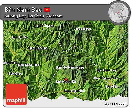 Satellite 3D Map of Bản Nam Bac