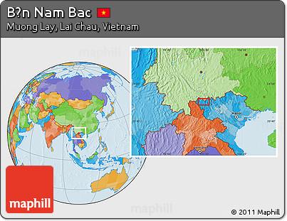 Political Location Map of Bản Nam Bac