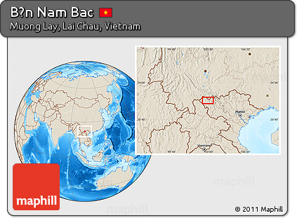 Shaded Relief Location Map of Bản Nam Bac
