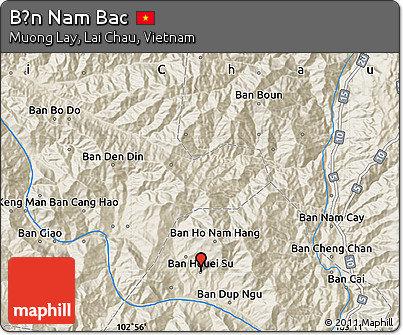 Shaded Relief Map of Bản Nam Bac