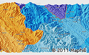 """Political 3D Map of the area around 22°23'25""""N,103°46'30""""E"""