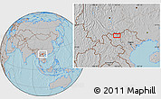 """Gray Location Map of the area around 22°23'25""""N,103°46'30""""E, hill shading"""