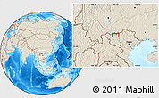 """Shaded Relief Location Map of the area around 22°23'25""""N,103°46'30""""E"""