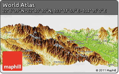 """Physical Panoramic Map of the Area around 22°23'25""""N,103°46'30""""E"""
