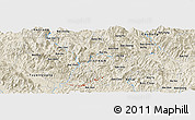 Shaded Relief Panoramic Map of Bản Kai