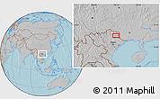 Gray Location Map of Bản Chu, hill shading