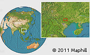 Satellite Location Map of Bản Chu