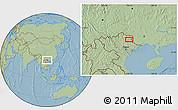 Savanna Style Location Map of Bản Chu, hill shading
