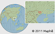 Savanna Style Location Map of Longzhou, hill shading
