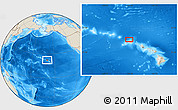 """Shaded Relief Location Map of the area around 22°23'25""""N,159°43'29""""W"""