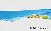 """Physical Panoramic Map of the area around 22°23'25""""N,159°43'29""""W"""