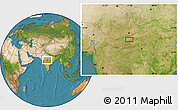 """Satellite Location Map of the area around 22°23'25""""N,77°25'30""""E"""