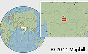 """Savanna Style Location Map of the area around 22°23'25""""N,77°25'30""""E, hill shading"""