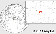 """Blank Location Map of the area around 22°23'25""""N,79°7'30""""E"""