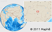 """Shaded Relief Location Map of the area around 22°23'25""""N,79°7'30""""E"""