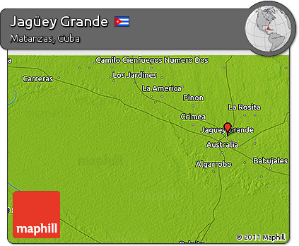 Physical 3D Map of Jagüey Grande