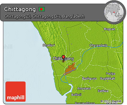 Free Physical 3D Map of Chittagong