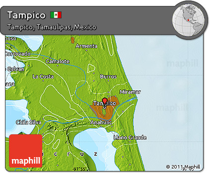 Free Physical Map Of Tampico