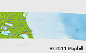 """Physical Panoramic Map of the area around 22°23'25""""N,97°40'30""""W"""