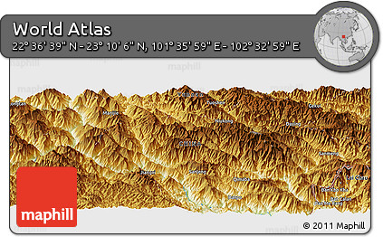 """Physical Panoramic Map of the Area around 22°53'22""""N,102°4'29""""E"""