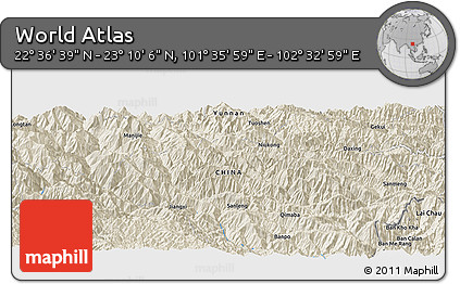 """Shaded Relief Panoramic Map of the Area around 22°53'22""""N,102°4'29""""E"""