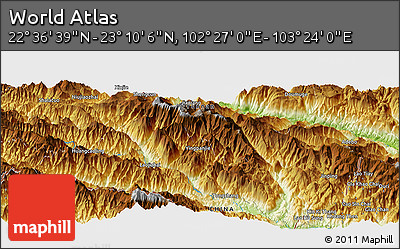 """Physical Panoramic Map of the Area around 22°53'22""""N,102°55'30""""E"""