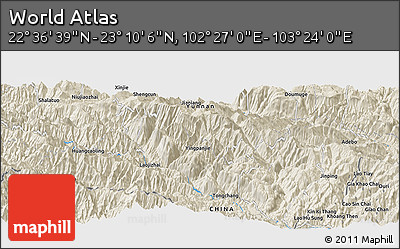 """Shaded Relief Panoramic Map of the Area around 22°53'22""""N,102°55'30""""E"""
