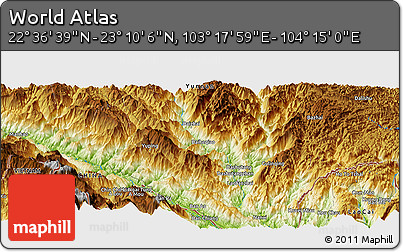 """Physical Panoramic Map of the Area around 22°53'22""""N,103°46'30""""E"""