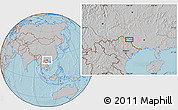 Gray Location Map of BácLục, hill shading