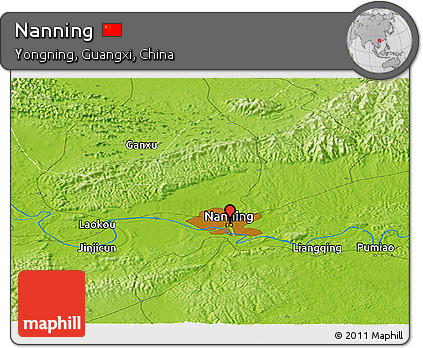 Physical Panoramic Map of Nanning