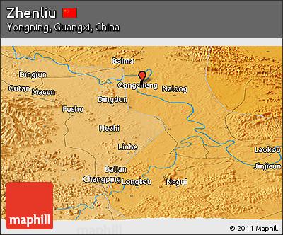 Political Panoramic Map of Zhenliu