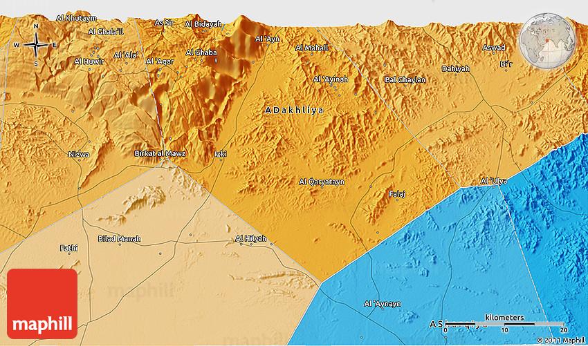 Political 3D Map of Al Ghar r Al yah