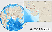 Shaded Relief Location Map of Ahmadābād