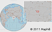 Gray Location Map of Bareli, hill shading